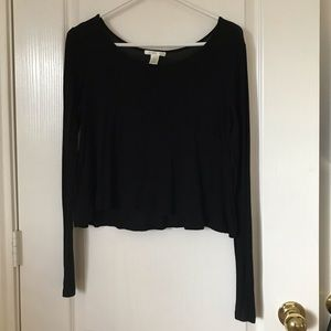 Bozzolo long sleeve black cropped top